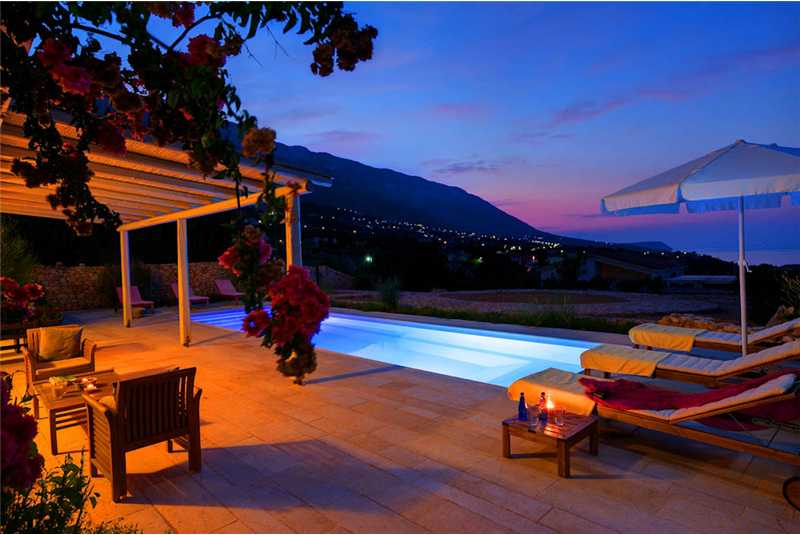 Villa Asterias terrace and pool at night