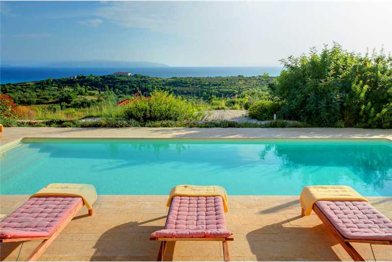 Villa Corali pool with stunning views of the ionian sea