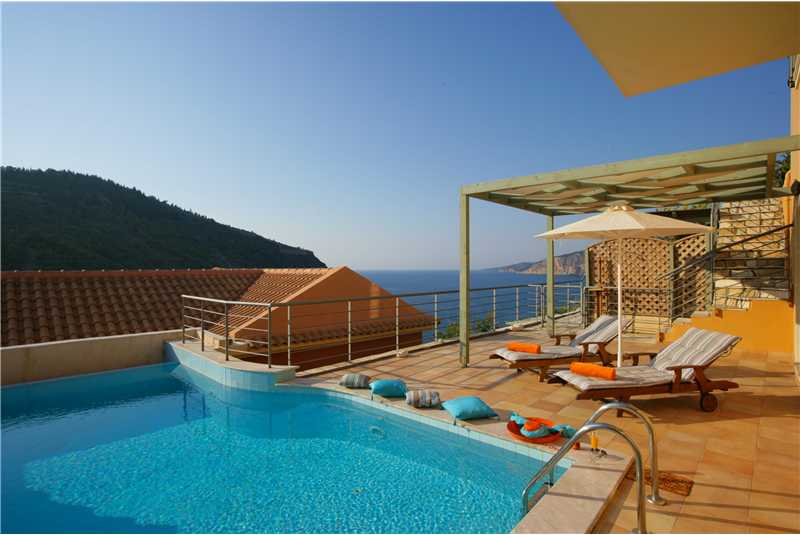 Villa Eleni swimming pool overlooking the sea