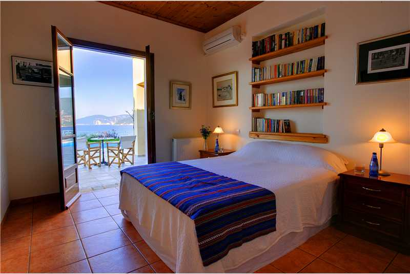 Fiscardo House double bedroom with access to the swimming pool terrace