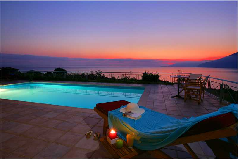 Fiscardo House swimming pool sunset