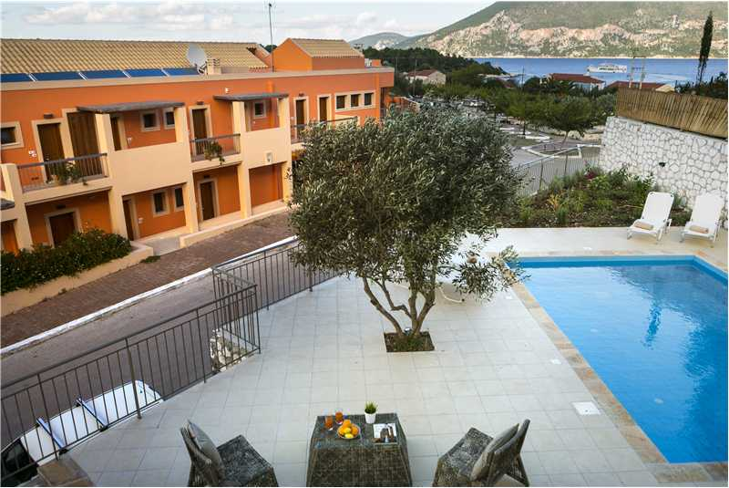 Villa Isalos pool and terrace with view of harbour
